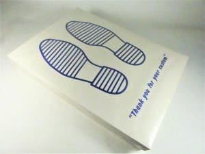 90gsm Blue footprint printed paper floor mats in dispenser box of 250